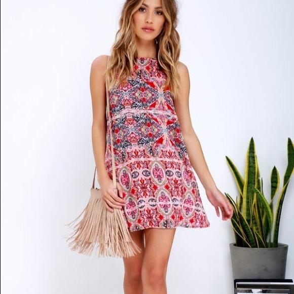 Lulus Design Major Red printed swing dress